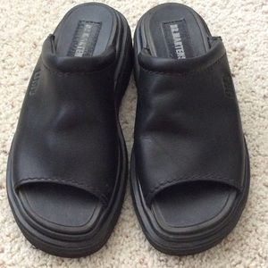 "Dr. Martens slides. UK 3/ US 5 (measures 9"")."
